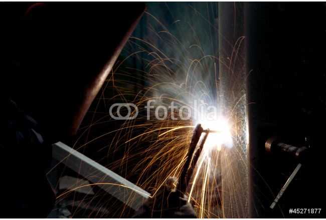 Welding and bright sparks. Hard job 64239
