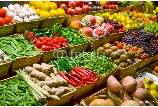 Art painting Fruit market with various colorful fresh fruits and vegetables 64239