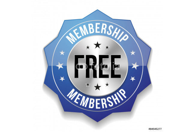 Blue free membership button on white background 64239