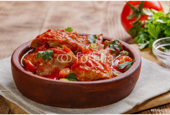 chicken in tomato sauce in a bowl chakhokhbili 64239