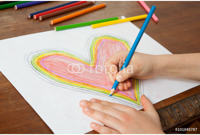 Child's Hands are Drawing a Heart That. 64239