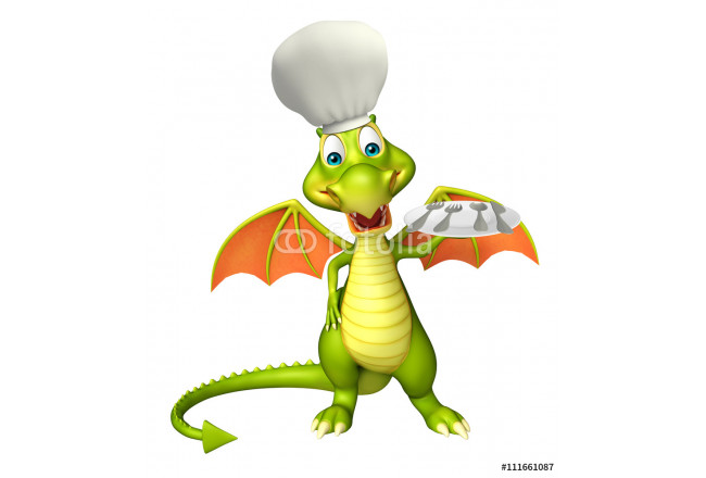 Dragon cartoon character with dinner plate and chef hat 64239