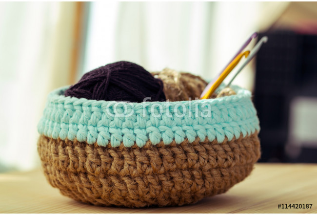 knitted basket with yarn 64239