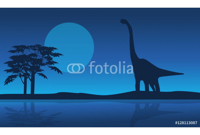 Toile déco At night brachiosaurus scenery of silhouettes 64239