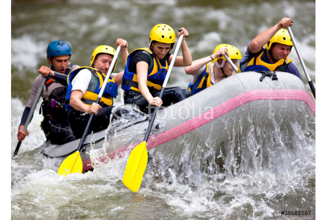 Group of people whitewater rafting 64239