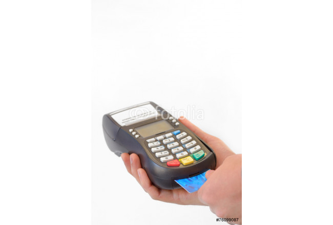 Male hand enters PIN code on payment terminal 64239