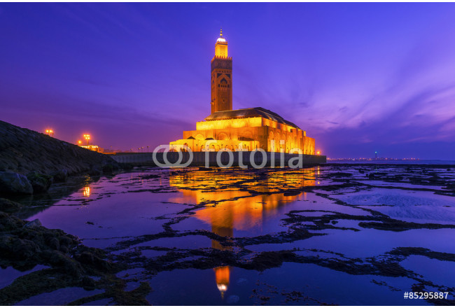 Art painting Hassan II Mosque during the sunset in Casablanca, Morocco 64239