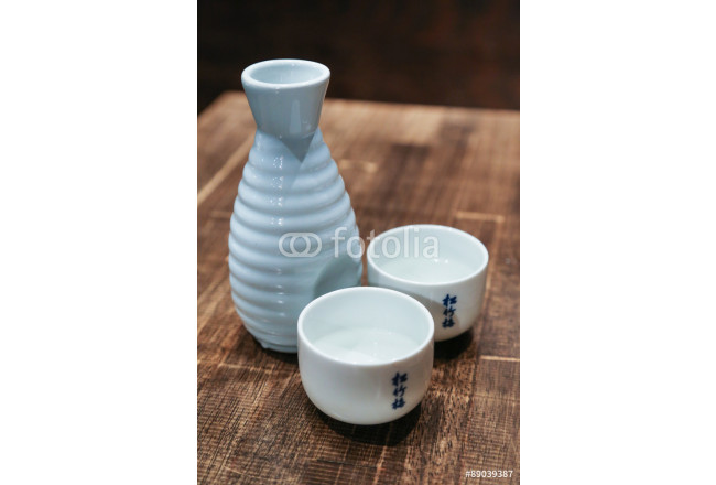 Japanese Sake Traditional Alcoholic Dring Set with Two Full Cups 64239