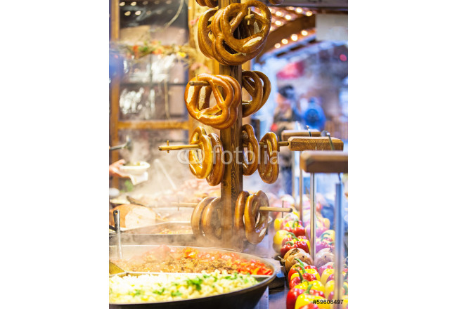Pretzels and food at German Christmas Market 64239