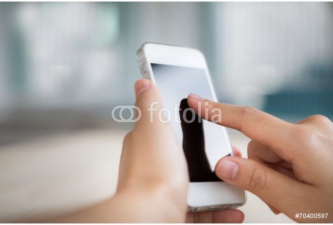 Hand touch the Screen on the Smart Phone 64239