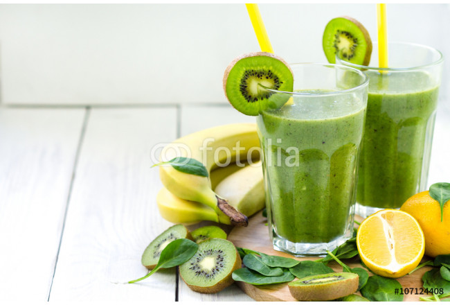 Fresh and healthy green smoothie  with spinach,banana, kiwi 64239