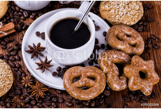 black coffee on a wooden background 64239