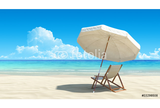 Beach chair and umbrella on idyllic tropical sand beach 64239