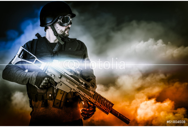 Cuadro decorativo assault soldier with rifle on apocalyptic clouds 64239