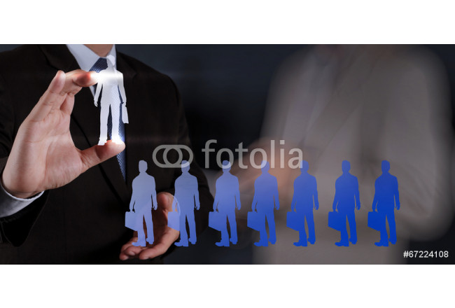 businessman hand choosing people icon as human resources concept 64239