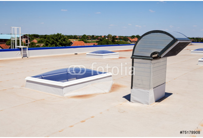 flat roof on industrial hall 64239