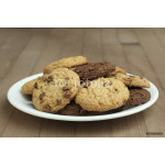 chocolate chip cookies on a plate on a wooden background 64239