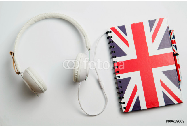 learn English concept with british flag and headphones. English school  64239