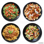 Pasta Collage isolated Overhead View 64239