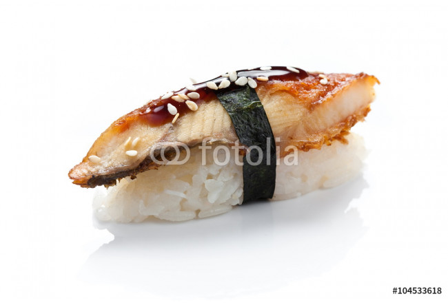 Cuadro decorativo eel sushi close up on a white background 64239