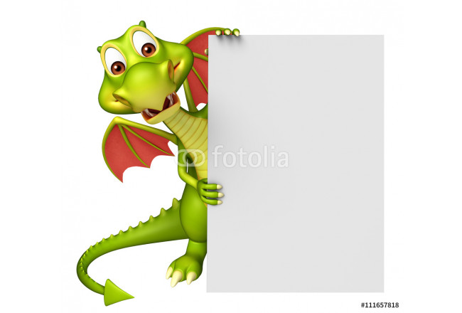 cute Dragon cartoon character with white board 64239