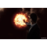 Man with a gun on explosion background 64239