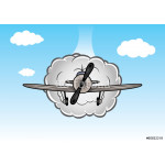 Cartoon biplane on the sky with clouds 64239