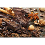 Dark chocolate with coffee beans cinnamon and star anise 64239