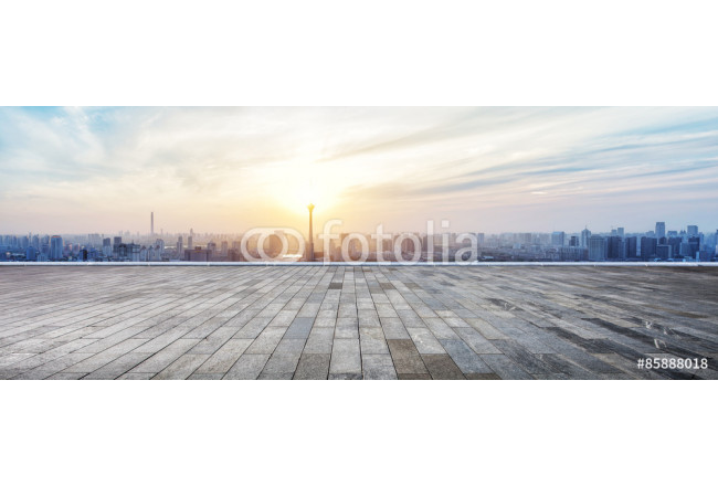 Quadro contemporaneo Panoramic skyline and buildings with empty wooden board 64239