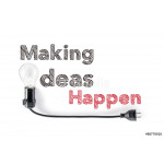 making ideas happen phrase and light bulb, hand writing, action 64239