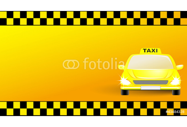 Quadro contemporaneo business card with taxi car on yellow background 64239
