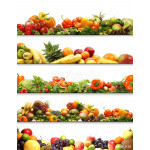 A collage of different fresh and tasty fruits and vegetables 64239