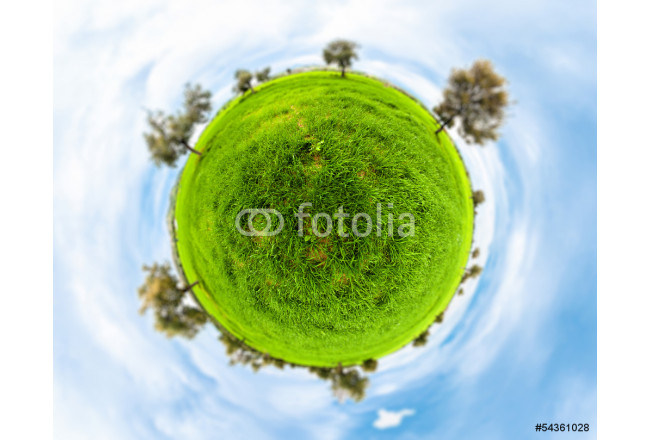 Little planet with clear thick grass lawn 64239