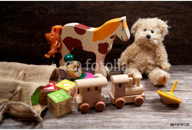 Vintage toys on wooden 64239