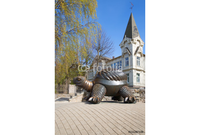 The sculpture of a large turtle on a spring day. Jurmala, Latvia 64239