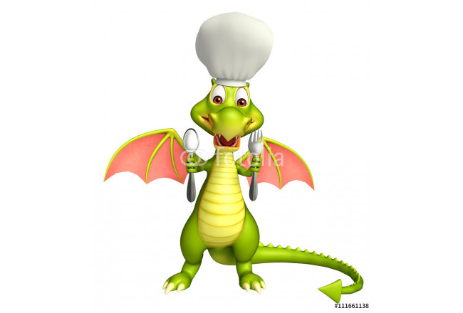 Dragon cartoon character  with chef hat and spoons 64239