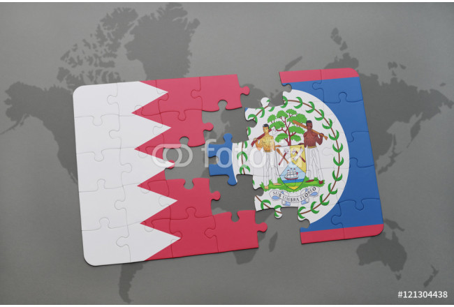 puzzle with the national flag of bahrain and belize on a world map background. 64239