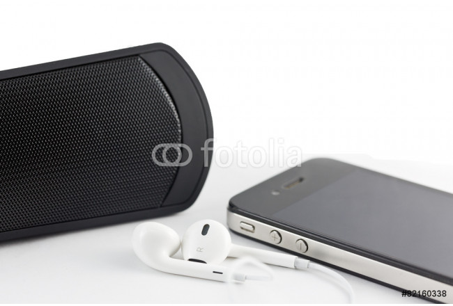 White Earphone , woofer and Smartphone equipment set isolated on 64239