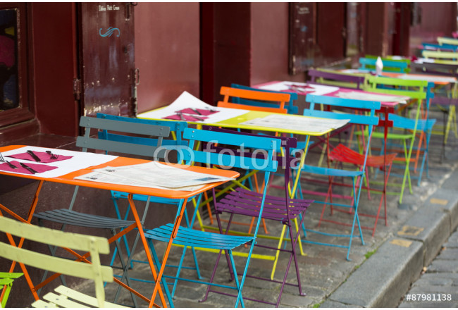 Paris - Very colorful Parisian outdoor cafe in Montmartre 64239