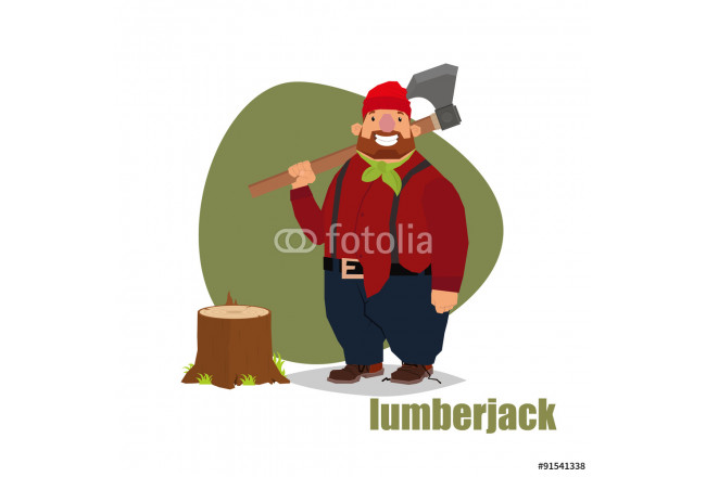 Vector illustration in a flat style lumberjack standing with an ax and stump. 64239