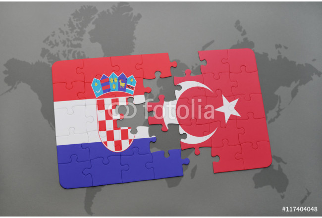puzzle with the national flag of croatia and turkey on a world map background. 64239