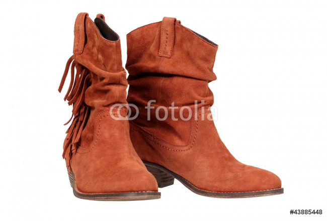 Suede boots isolated on the white background with clipping path 64239
