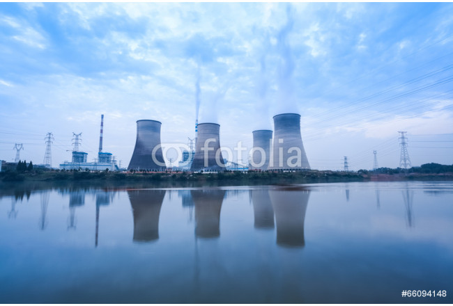 coal-fired power plant in cloudy 64239