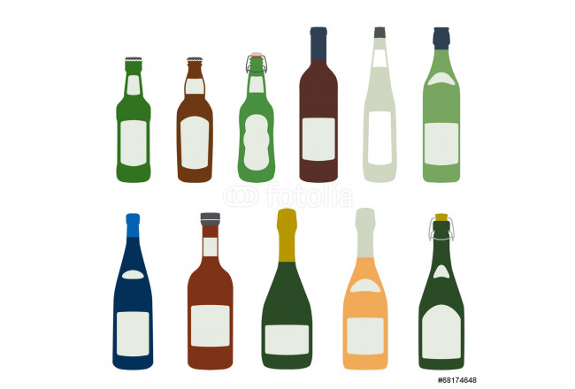flat design solid colors alcohol bottles icons set 64239
