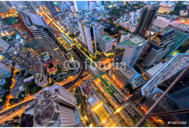 Cuadro decorativo Birds eye view of a office building,Traffic in the business 64239