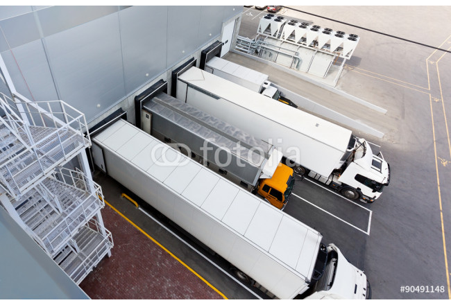 Trucks and Gates of Big distribution warehouse 64239