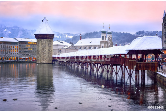 Lucerne, Switzerland, Chapel bridge, Water tower and Jesuit church on a winter evening 64239