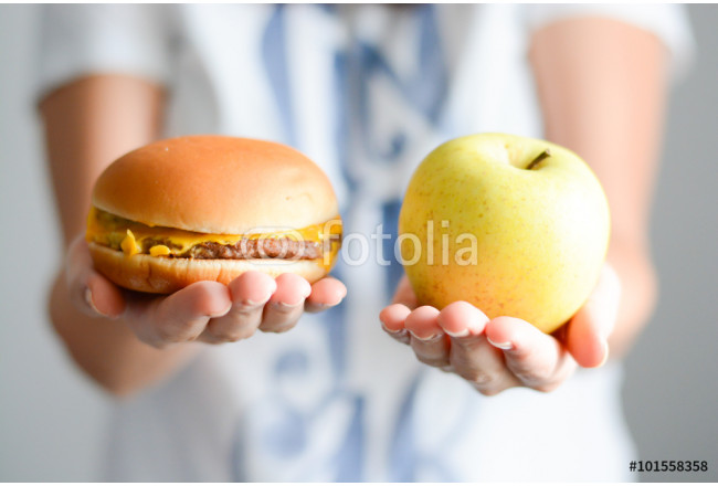 Choose between junk food versus healthy diet 64239
