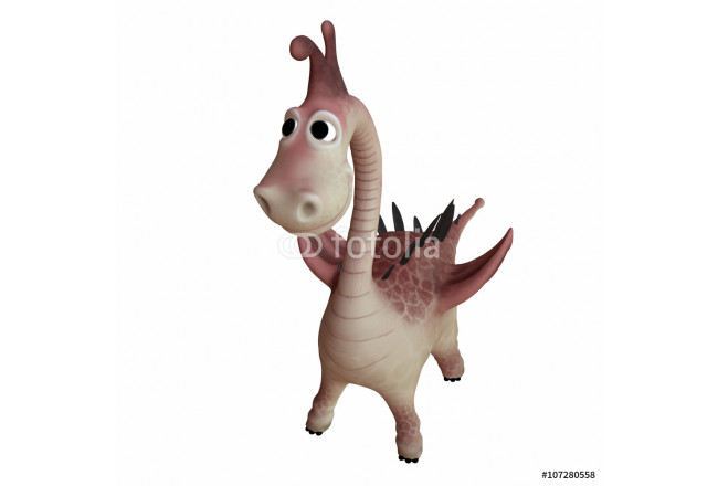 3d illustration of cute dragon on white background 64239