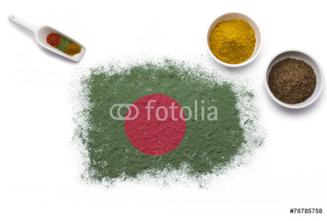 Spices forming the flag of Bangladesh.(series) 64239